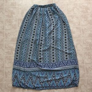 Patterned blue long skirt from Francesca's.